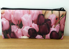 Make Up Cosmetics Bag Pencil Case Clutch Pouch Flower Ladies Tulips Gift Idea
