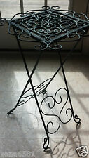 """Decorative Table / Plant Stand ~ Metal Scroll Work ~Aged Verdigris Look ~ 23"""" H"""