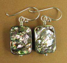 Abalone paua shell earrings. Oblong. Green/purple. Sterling silver 925
