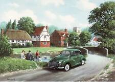 Morris Minor Green Saloon children fishing country day out blank greeting card