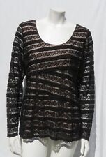 MAX STUDIO Black Nude Underlay Soft Stretch Lace Long Sleeve Shirt Top size L XL