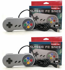 2x NEW SNES USB CLASSIC FAMICOM CONTROLLER FOR ALL PC/MAC SUPER NINTENDO GAMES