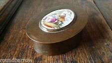 ANTIQUE 19TH CENTURY COPPER PATCH / TRINKET BOX WITH PAINTED PORCELAIN PLAQUE