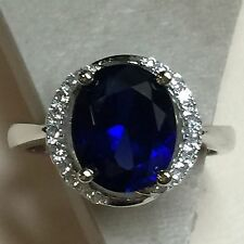 Designer 4ct Blue & White Sapphire 925 Solid Sterling Silver Solitaire Ring sz 6