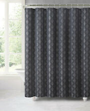 Camden Black Gray Silver Geometric Jacquard Fabric Bathroom Shower Curtain hooks