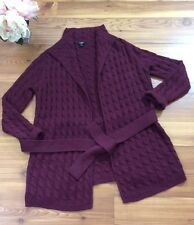 Talbots Women's Small Open Front Wrap Tunic Maroon Belted Sweater