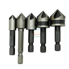 "5PC 1/4"" Hex Industrial Countersink Drill Bit Set Metal End Mills Cutter 82°"