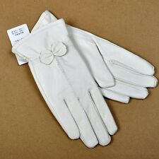 Fashion Women White Sheepskin Leather Gloves Autumn Winter Warm Gloves Mittens