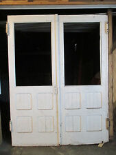 ~ ANTIQUE OAK DOUBLE ENTRANCE FRENCH DOORS 67 x 88 ~ ARCHITECTURAL SALVAGE ~