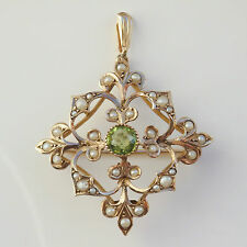 Antique Victorian Art Nouveau 9ct Gold Peridot & Seed Pearl Pendant Brooch c1895