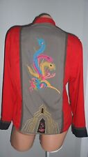 Chico's Design Chinese Asian Red/Grey 100% Silk Embroidery Top Shirt Jacket 0-10
