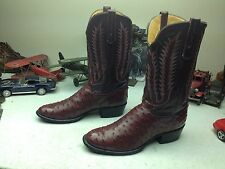 TONY LAMA GEORGE STRAIT USA BURGUNDY WINE LEATHER WESTERN OSTRICH BOOTS 13 D