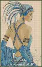 Cross Stitch Chart ART DECO LADY IN A BLUE DRESS No.2vb-23 (Large Print)
