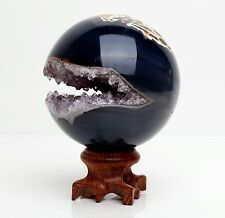 67mm NATURAL AMETHYST GEODE & AGATE SPHERE BALL REIKI w/Rosewood Stand BRAZIL