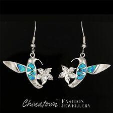 Hummingbird & Flower Ocean Blue Fire Opal Silver Jewelry Dangle Drop Earrings