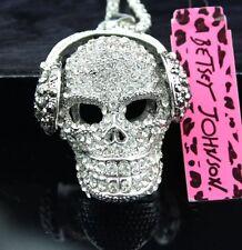 Bling NWT Betsey Johnson Necklace Silver Beats Skull  Headphone �� Cool �� Rare