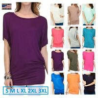 USA Women Short Dolman Sleeve Tunic Top Casual Boat Neck Loose Fit T- Shirt Plus