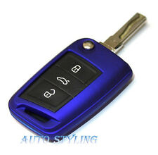 Metallic Blue Key Cover For Skoda Octavia 3 III MK3 Case Remote Fob Shell 40mblu