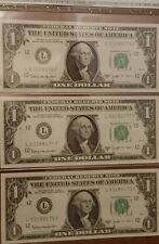 Lot of 3 Consecutive 1963B US One Dollar Notes Joseph Barr Series - Unc.