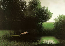 Diving Pig by Michael Sowa Art Print When Pigs Fly Flying Off Dock Pond Poster