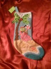 TROPICAL CHRISTMAS PINK FLAMINGO with PACKAGES, BOXES, RIBBONS and BOWS STOCKING