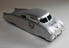 VINTAGE MIDGETOY SILVER STREAMLINE POLICE CAR ALL METAL FUTURISTIC 1940's USA