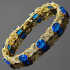 Women Party Jewellery Yellow Gold Plated Infinity Dainty Tennis Bracelet