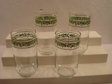 """4 Crazy Daisy Spring Blossom 5"""" Green Glass Tumblers Excellent"""