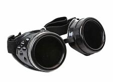 Steampunk Black Plain goggles cyber punk biker gothic rave cosplay aviator