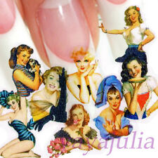 Pin Up Girl Style Nail Art Decal Water Slide Transfer Stickers 11 in1 W21