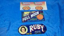 VINTAGE 3 FOOD GROCERY LABEL FULL MOON TANGERINES PALMETTO PEACHES RUBY CITRUS