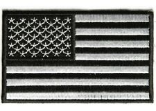 """(A31) BLACK & WHITE AMERICAN FLAG 4"""" x 2.5"""" iron on patch (3825) Biker Patches"""