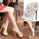 Womens Platform Strap Cut Out High Heels Sandals Shoes Size 3005#