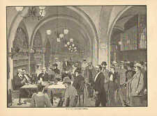 Cafe, Food & Wine, In Bremer Ratskeller, Vintage 1895 German Antique Art Print