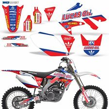 Full Graphic Kit Honda CRF250R Dirt Bike Stickers w Backgrounds CRF 250R 04-09 L