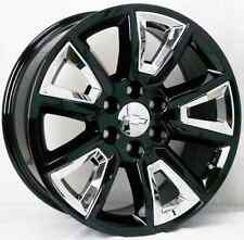 "22"" Chevy Tahoe Silverado Suburban Gloss Black with Chrome Inserts Wheels Rims"