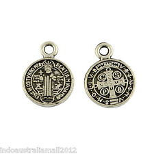 Small St. Benedict Medal  Pendant Flat Round Tibetan Silver 13mm(R328-04)