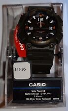 New! Casio Solar Power World Time Water Resistant Wrist Watch Charcoal