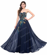 PLUS SIZE Peacock Long Evening Gown Prom Formal Party Chiffon Bridesmaid Dress