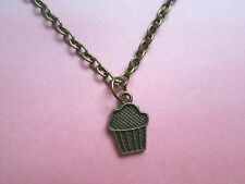 "Cute Dainty Bronze Plated 18"" Cupcake Necklace New in Gift Bag Christmas"