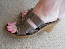 """26 Bones"" Brown Distressed Look Summer Wedge Sandals - Size 7"
