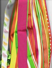 Grosgrain ribbon gorgeous summer citrus lot 30 yards 1-1/2,7/8,5/8,3/8 beautiful
