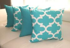 Turquoise Outdoor Pillow, Turquoise Moroccan Tile Outdoor Throw Pillows - 4 PK