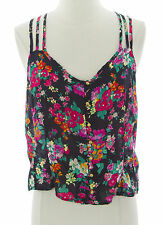 TOPSHOP Women's Black/Multi Floral Button Up Sleeveless Top 13B16A US Sz 6 NWT