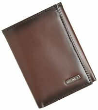 BRAND NEW NAUTICA MEN'S LEATHER CREDIT CARD ID WALLET TRIFOLD BROWN 6261-02