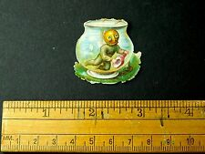 Fabulous Colorful Small Brass Helmet Diver In Fish Bowl Victorian Die Cut DC15
