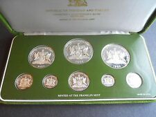 Trinidad & Tobago 1984 Proof Set. 8 coins all silver in Box and with Coa