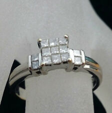 Vintage New 14K White Gold Engagement Ring Accents Fine Princess Diamends 1/2 Ct