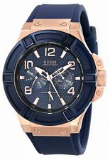 GUESS Rigor W0247G3, Blue & Rose Gold Rubber Strap Watch for Men