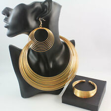 Fashion Necklace Earrings Bangle African Costume Gold/S Plated Jewelry Sets